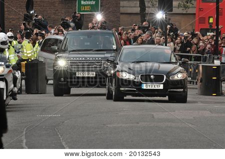 LONDON, ENGLAND - APRIL 28: Kate Middleton's motorcade arrives at the Goring Hotel on the evening before her wedding to Prince William on April 28, 2011 in London England.