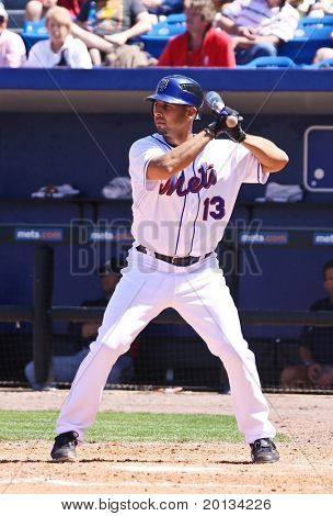 PORT ST. LUCIE, FLORIDA - MARCH 23: New York Mets infielder Alex Cora steps up to the plate during the game against the Atlanta Braves on March 23, 2010 in Port St. Lucie, Florida.