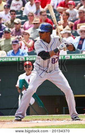JUPITER, FLORIDA - MARCH 25: New York Mets infielder Jordany Valdespin bats during a spring training game on March 25, 2010 in Jupiter, Fla.