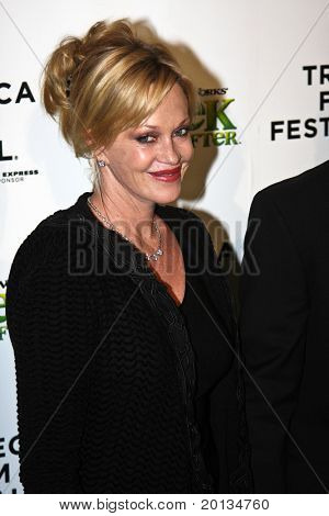 NEW YORK - APRIL 21: Actress Melanie Griffith attends the 2010 TriBeCa Film Festival opening night premiere of 'Shrek Forever After' at the Ziegfeld Theatre on April 21, 2010 in New York City.