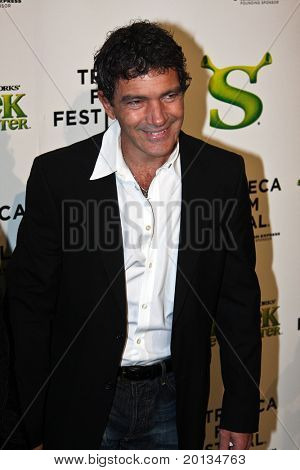 NEW YORK - APRIL 21: Actor Antonio Banderas attends the 2010 TriBeCa Film Festival opening night premiere of 'Shrek Forever After' at the Ziegfeld Theatre on April 21, 2010 in New York City.