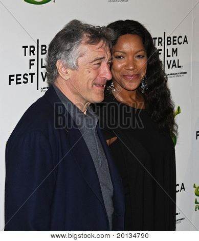 NEW YORK - APRIL 21: Actor Robert DeNiro and Grace Hightower attend the 2010 TriBeCa Film Festival movie of 'Shrek Forever After' at the Ziegfeld Theatre on April 21, 2010 in New York City.