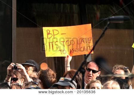 NEW YORK - MAY 28: A fan raises a sign at the OneRepublic performance at the TODAY show at Rockefeller Plaza on May 28, 2010 in New York City.
