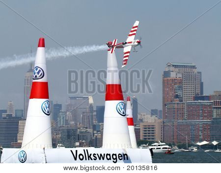 NEW JERSEY - JUNE 19: Pilot Paul Bonhomme from United Kingdom qualifies for the Red Bull Air Race on June 19, 2010 at Liberty State Park in New Jersey.