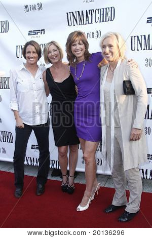 "NEW YORK - AUGUST 26: Mary Carillo, Chris Evert, Hannah Storm and Martina Navratilova attend ESPN Films' ""Unmatched"" premiere at the TriBeCa Cinemas on August 26, 2010 in New York City."