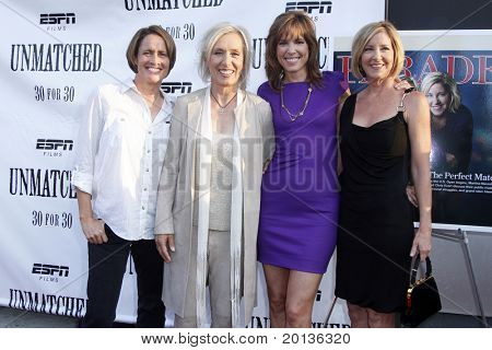"NEW YORK - AUGUST 26: Mary Carillo, Martina Navratilova, Hannah Storm and Chris Evert attend ESPN Films' ""Unmatched"" premiere at the TriBeCa Cinemas on August 26, 2010 in New York City."