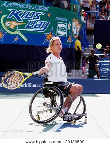 FLUSHING, NY - AUGUST 28: Tennis pro Esther Vergeer (Netherlands) attends Arthur Ashe Kids' Day at the Billie Jean King National Tennis Center on August 28, 2010 in Flushing, New York.