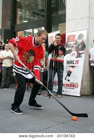 NEW YORK - SEPTEMBER 8: Patrick Kane of the Chicago Blackhawks attends the launch event for EA Sports' NHL 11 at the NHL Powered by Reebok store on September 8, 2010 in New York City.