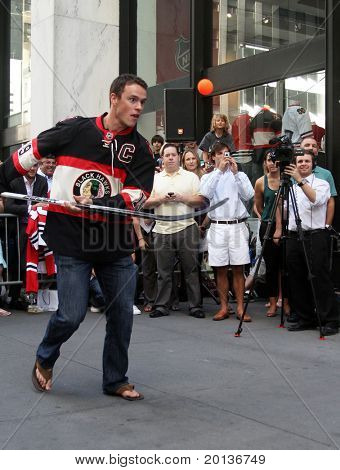 NEW YORK - SEPTEMBER 8: Jonathan Toews, captain of the Chicago Blackhawks, attends the launch event for EA Sports' NHL 11 at the NHL Powered by Reebok store on September 8, 2010 in New York City.
