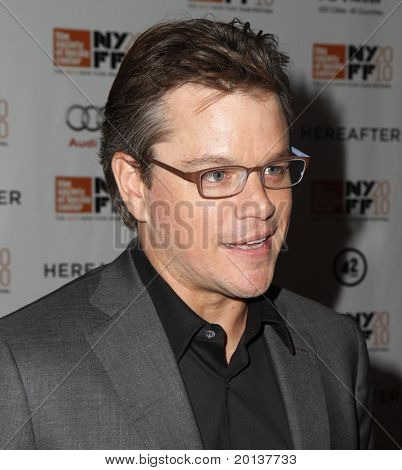 NEW YORK - OCTOBER 10: Actor Matt Damon attends the premiere of