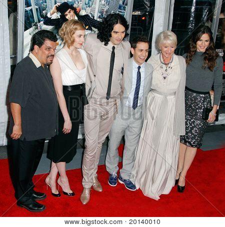NEW YORK - APRIL 5: Luis Guzman, Greta Gerwig, Russell Brand, Jason Winer, Helen Mirren, and Jennifer Garner attend the premiere of 'Arthur' at the Ziegfeld Theatre on April 5, 2011 in New York City.