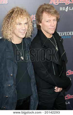 HOLLYWOOD, CA. - NOV 21: Dave Bryan (L) & Jon Bon Jovi (R) arrive at the 2010 American Music Awards Rolling Stone Magazine Party at Rolling Stone Restaurant & Lounge on November 21, 2010 in Hollywood.