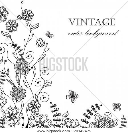 Vintage floral card with handdrawn flowers and butterflies