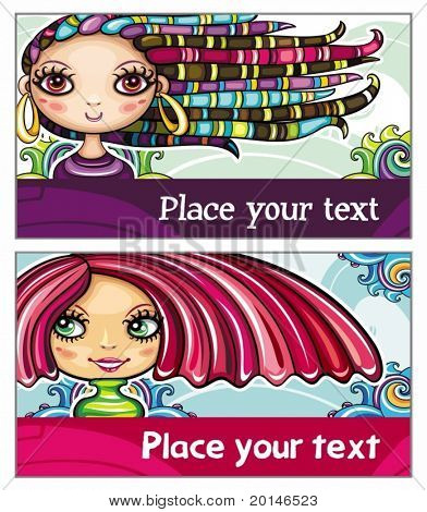 Set of colorful decorative business cards featuring attractive girls with stylish hair styles. Space for your information. #1