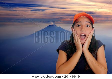 Beautiful Latin teen hispanic girl cap surprise gesture Mexico DF vulcano Popocatepetl
