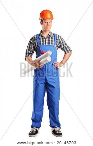 Full length portrait of a construction worker wearing helmet and holding blueprints isolated on white background