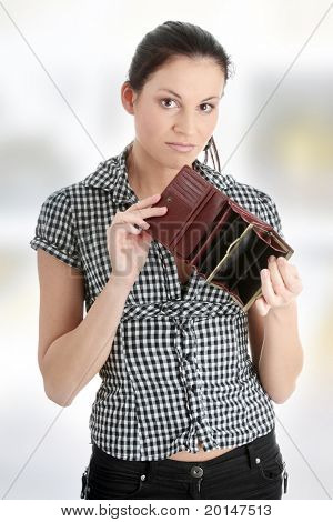 Young caucasian woman with empty wallet - broke