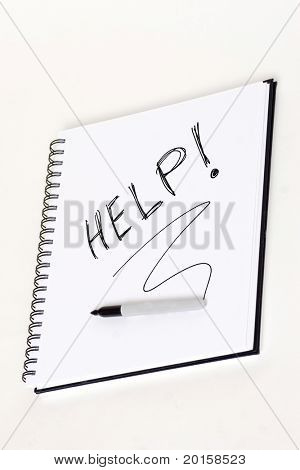 help hand writen on coil notebook