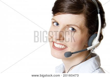 approachable customer service agent (image quite clear, teeth are naturally white)