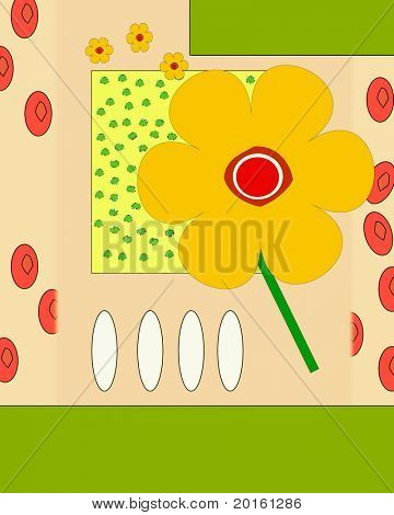 yellow flower on beige illustrated