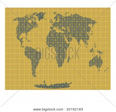 world with binary code superimposed in grid over top vector,