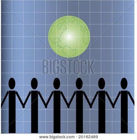 icons of people holding hands with world behind vector