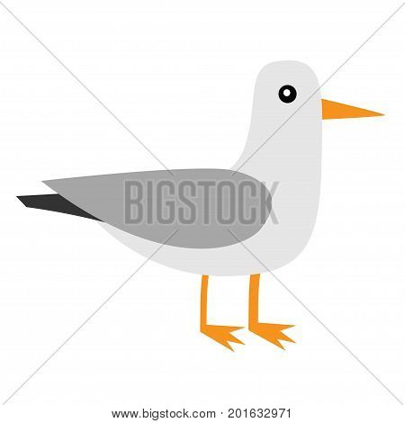 Albatross icon  Antarctica petrel Seagull wandering royal bird  Arctic  animal collection  Cute cartoon baby character  Winter white background
