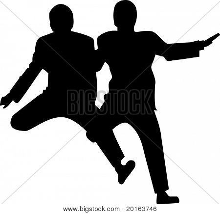 silhouette of two males jumping with suits on