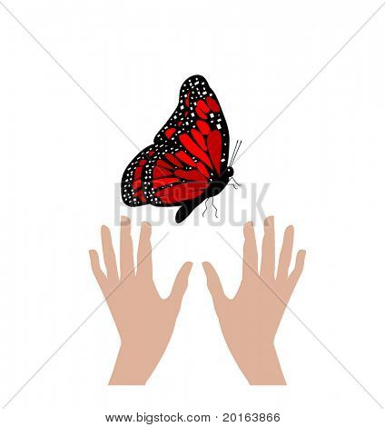 hands reaching for butterfly