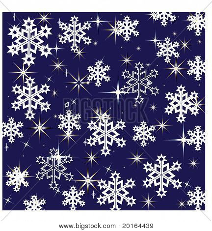 starry night with snow falling