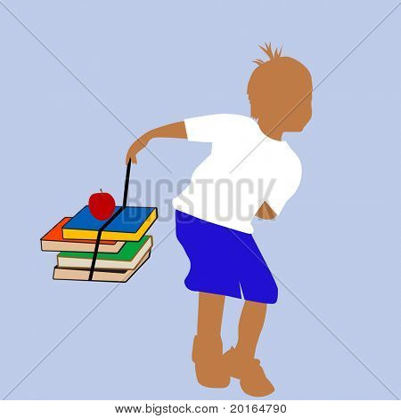 playful boy carrying books to school