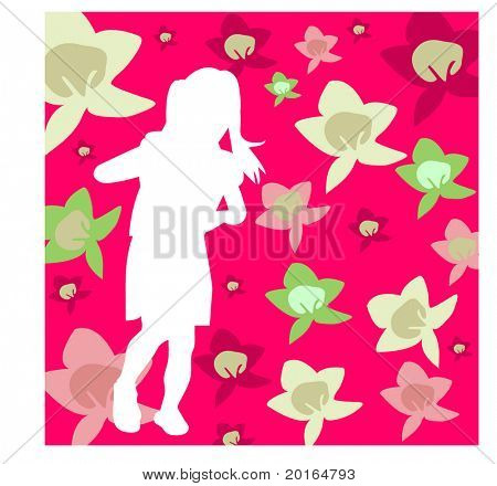 young girl on flowered background