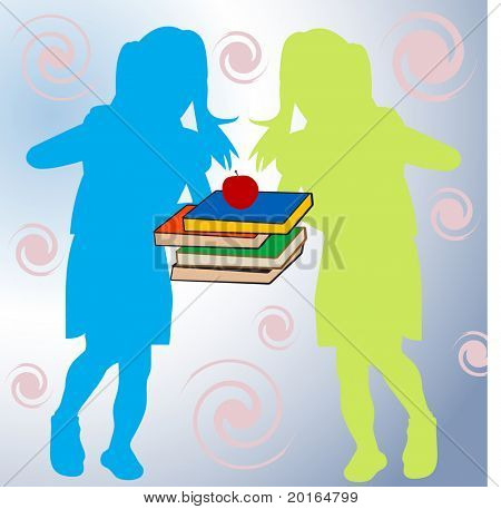 two young girls with school books between them