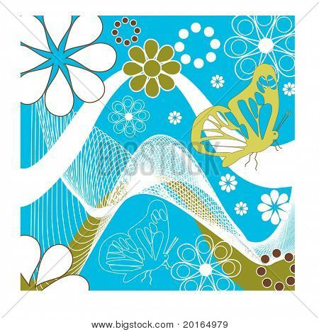 butterflies and flower with net and wave elements