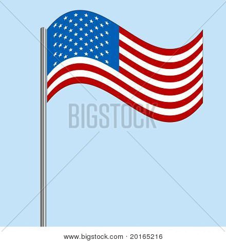 American flag blowing vector
