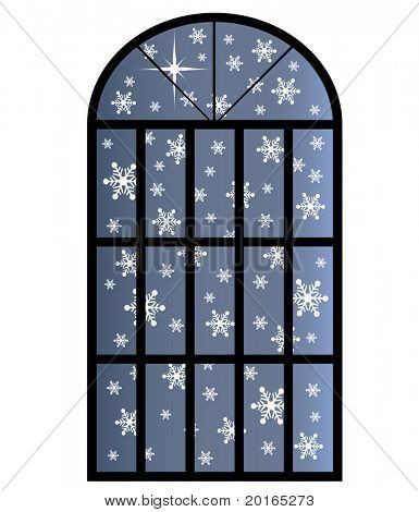 snow through a window isolated (one bright star)