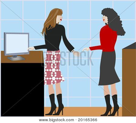 females talking at the office