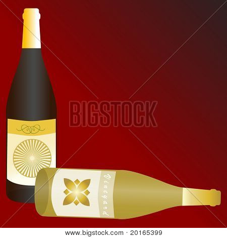 wine bottles with copy space illustration