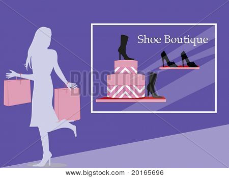 shoe boutique with lady shopping
