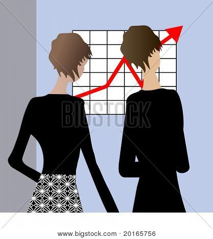 professional women illustration with arrow off the chart