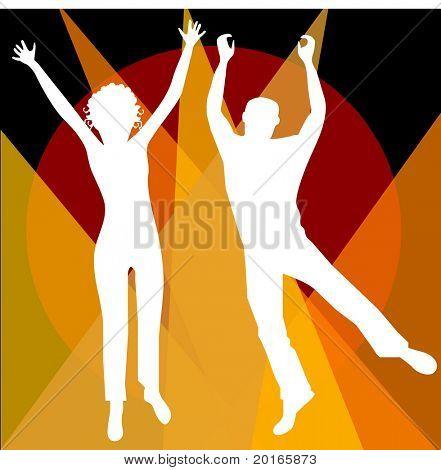 man and woman jumping illustration vector