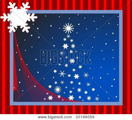 christmas scene with larger snowflake for your logo or input