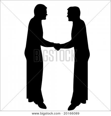 silhouette of men shaking hands