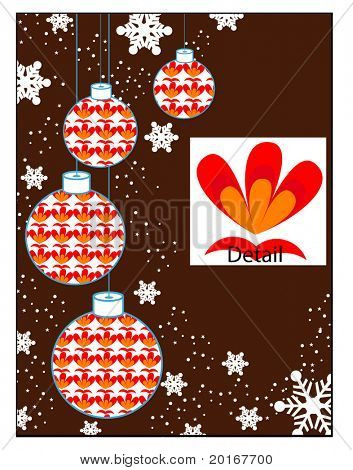 christmas bauble frame to the side illustration