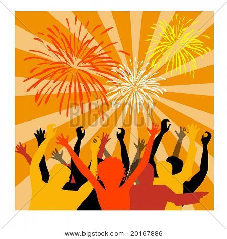 crowd with fireworks illustration