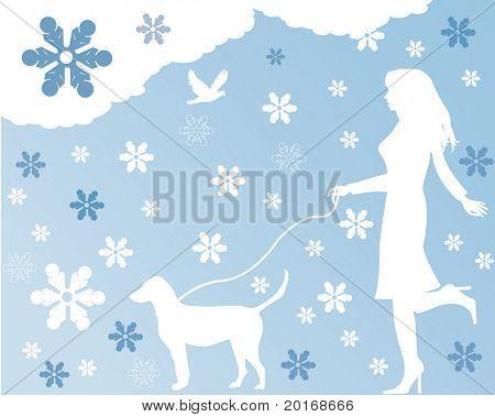 silhueta de cachorro andando de mulher no inverno