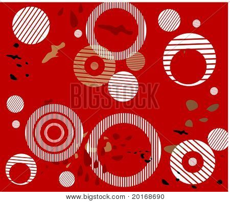 red grunge background with striped circles