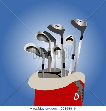 clubes de golfe na ilustração de saco