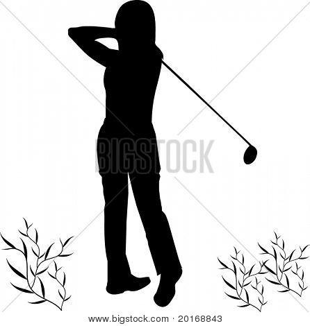 female golfer illustration series