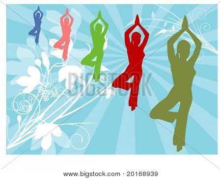 yoga pose with creative background